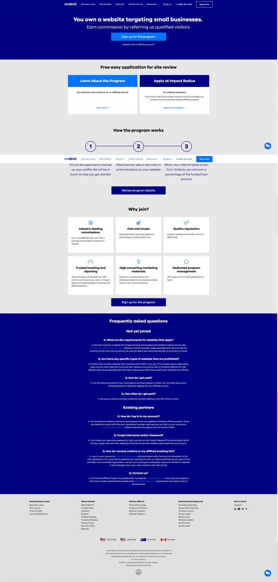 On Deck Affiliate Program Page