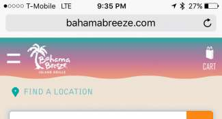 Locations page listings for Bahamas Breeze