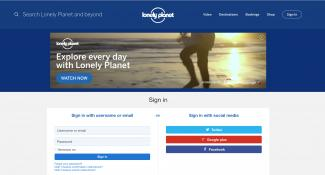 Lonely Planet Login Page