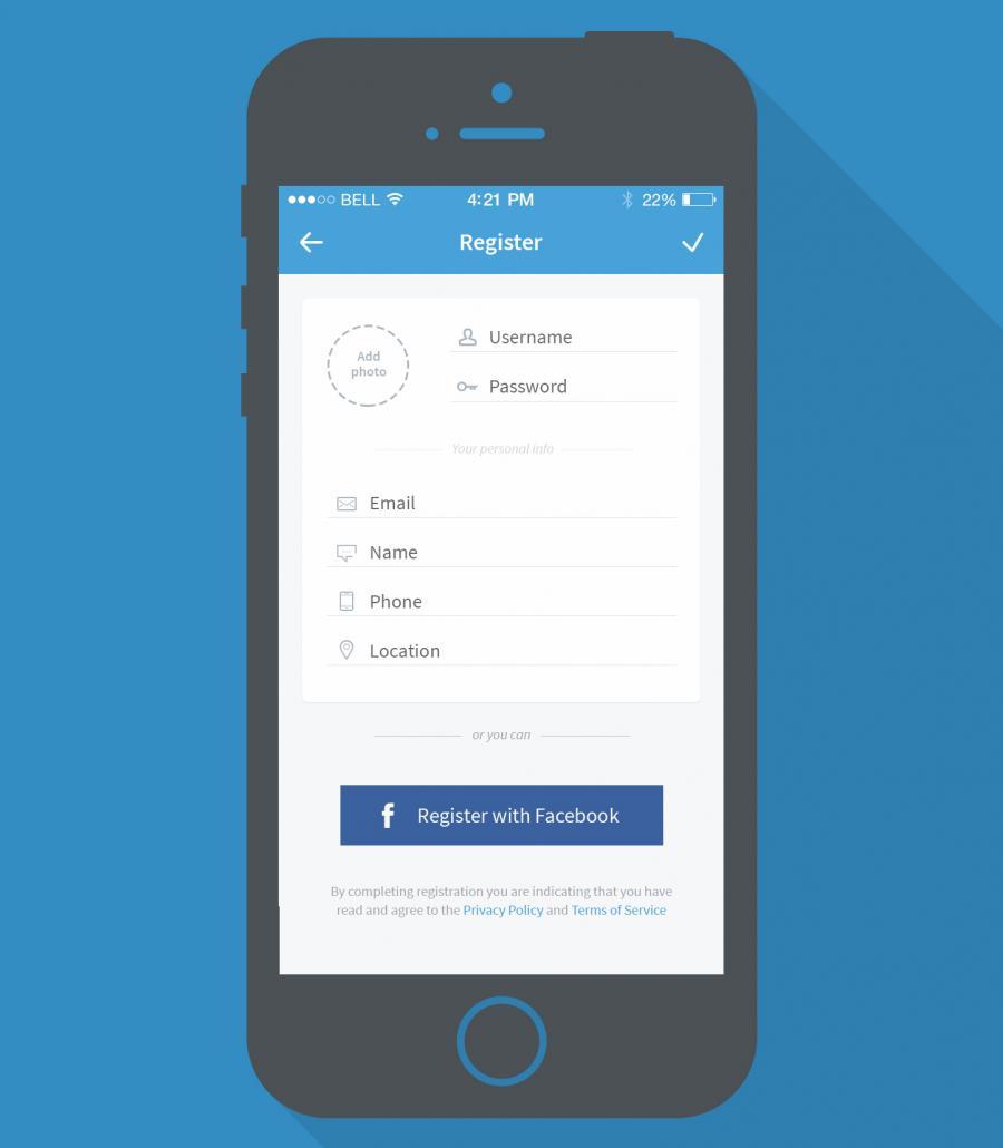 Mobile App Registration Page Mockup