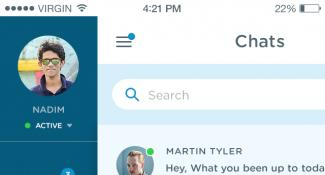 Mobile Messaging Chat App Menu
