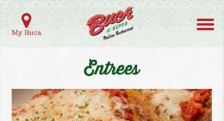 Mobile Website Menu For Buca Di Beppo