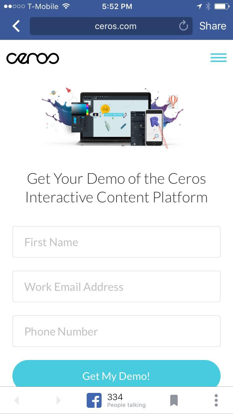Ceros Mobile Site Login Page
