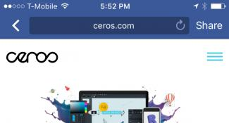 Ceros Mobile Site Login Page